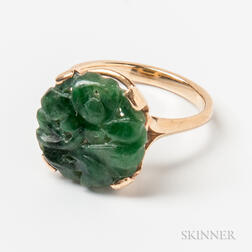 14kt Gold and Carved Spinach Jadeite Ring