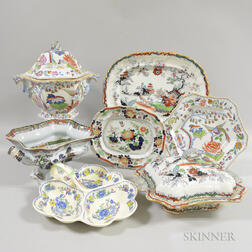 Seven Pieces of Transfer-decorated Ironstone Tableware