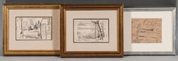 Oscar Florianus Bluemner (American, 1867-1938)    Three Framed Drawings: Pond with Mountain View ,  Cohasset