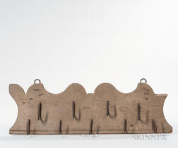 Gray-painted Pine Board of Game Hooks