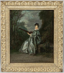 Continental School, 19th Century      Woman in Blue Playing a Lute