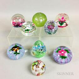 Nine Glass Paperweights