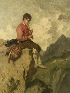 Attributed to Adolphe-Irénée Guillon (French, 1829-1896)  The Mountain Flutist