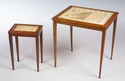 Two Occasional Tables with Needlework Sampler Tops