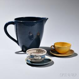 Saturday Evening Girls Cup with Saucer, a Pitcher, and PRP Cup and Saucer