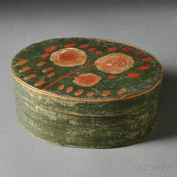 Paint-decorated Small Oval Covered Box