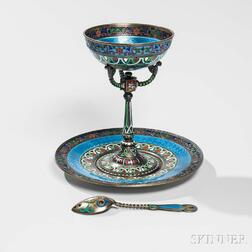 Russian .916 Silver and Enamel Sherbet with Underplate and Spoon