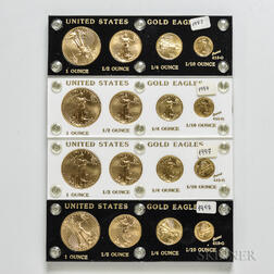 Four 1997 American Gold Eagle Four-coin Sets
