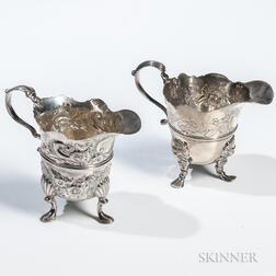 Two Georgian Sterling Silver Cream Jugs