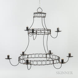 Two-tier Tin and Wire Chandelier