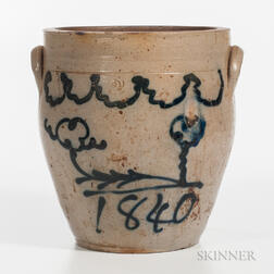 "Cobalt-decorated Two-Gallon Stoneware Jar ""1840,"""