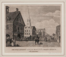 William Russell Birch (Anglo/American, 1755-1834)      Second Street North from Market Street with Christ Church Philadelphia