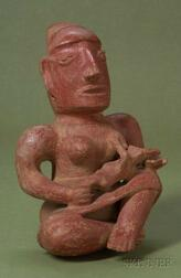 Pre-Columbian Painted Pottery Maternity Figure