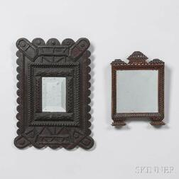 Two Small Tramp Art Mirrors
