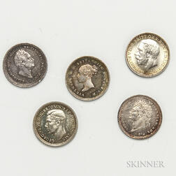 Six 2 Pence Maundy Coins