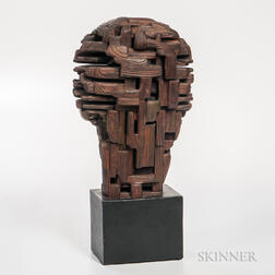 David Crissy Packard (1928-1968) Modernist Wood Sculpture of a Head