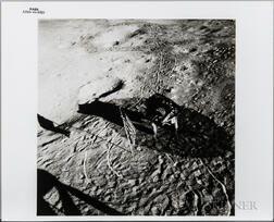 Apollo 14, Lunar Surface with Flag, Footprints, and Tracks of Equipment.