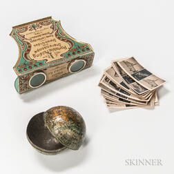 Decorated Tin Portable Folding Stereoscope with Stereo Slides