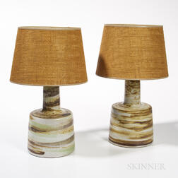 Pair of Martz Pottery Table Lamps with Woven Fiber Shades