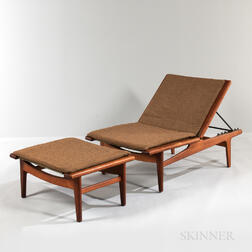 Hans Wegner for Getama Oak Chaise Lounge and Ottoman