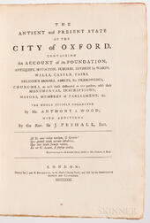 Wood, Anthony a (1632-1695) The Antient and Present State of the City of Oxford.