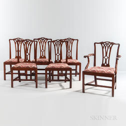 Set of Six Carved Mahogany Dining Chairs