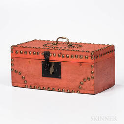 Salmon-painted and Tack-decorated Pine Document Box