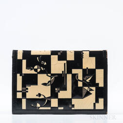 Art Deco Black Leather Imprinted Envelope Clutch