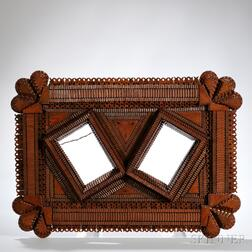 Tramp Art Frame with Two Apertures