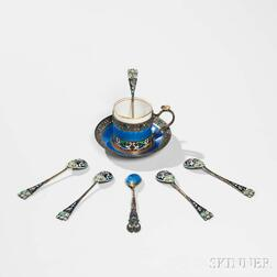 Seven Pieces of Russian .875 Silver and Enamel Tableware