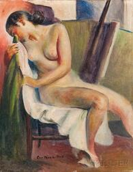 Guy Pène Du Bois (American, 1884-1958)      Female Nude in Chair