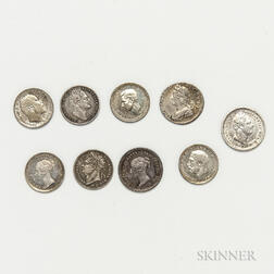 Nine 1 and 1 1/2 Pence Maundy Coins