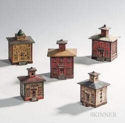 Five Cast Iron and Polychrome Painted Architectural Still Banks