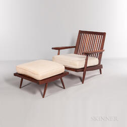 George Nakashima Cushion Chair with Arms and Ottoman