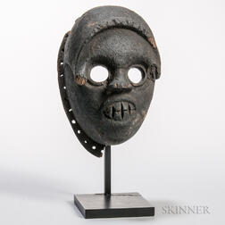 Ibibio Black Patinated Carved Wood Mask
