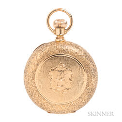 18kt Gold Hunting Case Pocket Watch, A.W. Co., Waltham