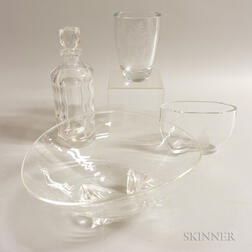Three Orrefors Colorless Glass Vessels and a Steuben Glass Bowl