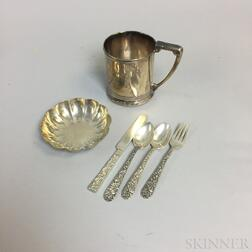 S. Kirk & Sons Sterling Silver Four-piece Child's Set, Gorham Sterling Silver Mug, and Tiffany & Co. Sterling Silver Dish