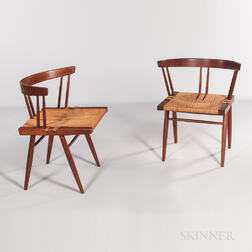 Pair of George Nakashima Grass-seat Chairs
