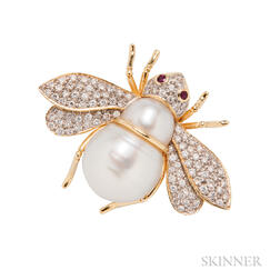 18kt Gold, Baroque Cultured Pearl, and Diamond Bee Pendant/Brooch