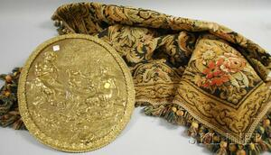 Cast Bronze Centaur Family Oval Plaque and a Woven Wool Floral and Foliate Tapestry.