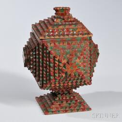 Tramp Art Pedestal Box with Red- and Green-painted Highlights
