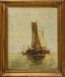 Louis-Adolphe E. Jacobs (Belgian, 1855-1929)      Fishing Vessels in Calm Waters