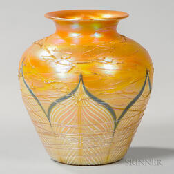 Large Durand Threaded Pulled Feather Vase