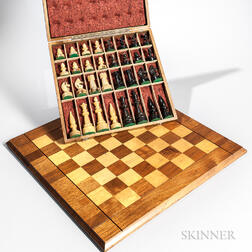 Carved Horn Chess Set with Inlaid Board