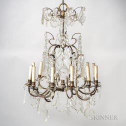 Twelve-light Brass and Crystal Chandelier