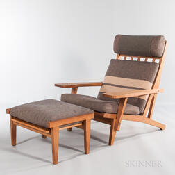 Hans J. Wegner for Getama Model GE375 Oak Lounge Chair and an Ottoman