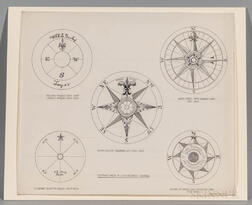 Pen and Ink Drawing of Five Compass Cards