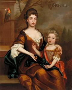 School of Godfrey Kneller (British, 1646-1723) Portrait of a Lady and Her Son, Seated in a Landscape, a...