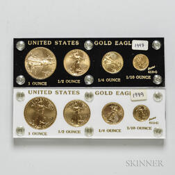 1997 and 1999 American Gold Eagle Four-coin Sets